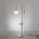 1930s Modernist Floor Lamp handmade manufactured in highest Quality, Height adjustable Glas Shade, new Production